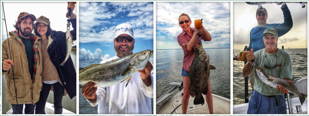 Four images of customers on our boat, holding up their fish after a successful catch